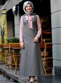 Askılı Kadife Elbise - Gri Pudra - Gamze Özkul