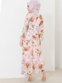 Powder - Floral - Crew neck - Fully Lined - Dresses