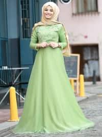 Şifon Abiye Elbise - Mint - Cool Vera