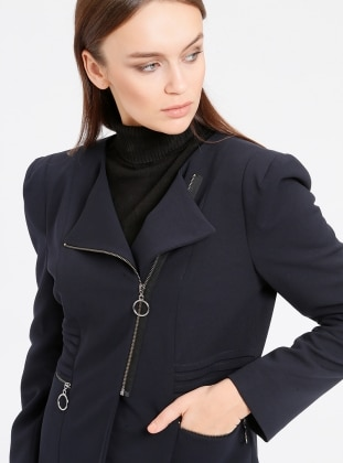 Navy Blue - Fully Lined - Crew neck - Jacket