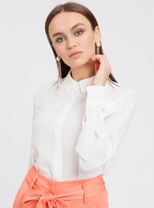 White - Ecru - Point Collar - Blouses - Fashion Light