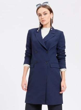 Navy Blue - Fully Lined - Shawl Collar - Jacket - Fashion Light