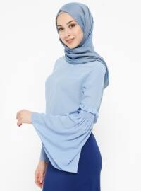 Volanlı Bluz - Bebe Mavi - Appleline