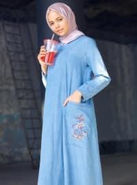 Nakışlı Kot Elbise - Buz Mavisi - Benin