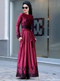 Simay Kadife Elbise - Bordo - Selma Sarı Design