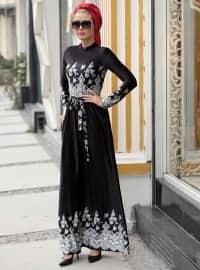 Simay Kadife Elbise - Siyah - Selma Sarı Design