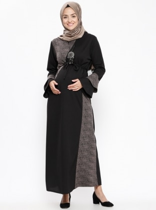 Black - Gray - Polo neck - Unlined - Maternity Dress