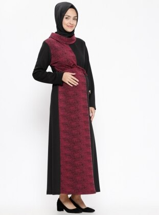 Black – Purple – Polo Neck – Unlined – Maternity Dress – Havva Ana