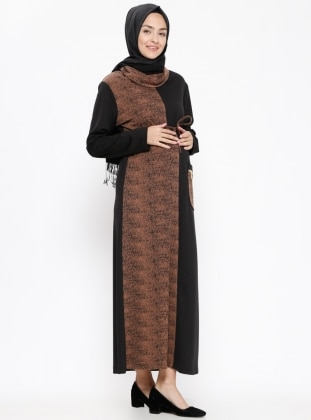 Brown - Polo neck - Unlined - Maternity Dress
