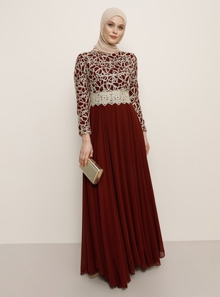 Maroon - Fully Lined - Crew neck - Muslim Evening Dress - Refka