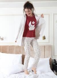 3`lü Sabahlıklı Polar Pijama Takımı - Bordo Gri - Siyah inci