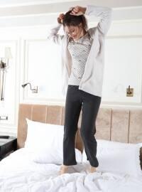 3`lü Sabahlıklı Polar-İnterlok Pijama Takımı - Antrasit Gri - Siyah inci