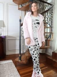 3`lü Sabahlıklı Wellsoft Pamuklu Pijama Takımı - Pudra Gri - Siyah inci