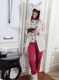 3`lü Sabahlıklı Wellsoft-İnterlok Pijama Takımı - Bordo Gri - Siyah inci
