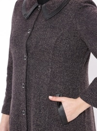 Purple - Fully Lined - Point Collar - Plus Size Coat