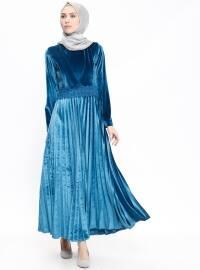 Kadife Elbise - Mavi - Etrucci