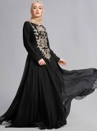Pul Payetli Abiye Elbise - Siyah - Refka