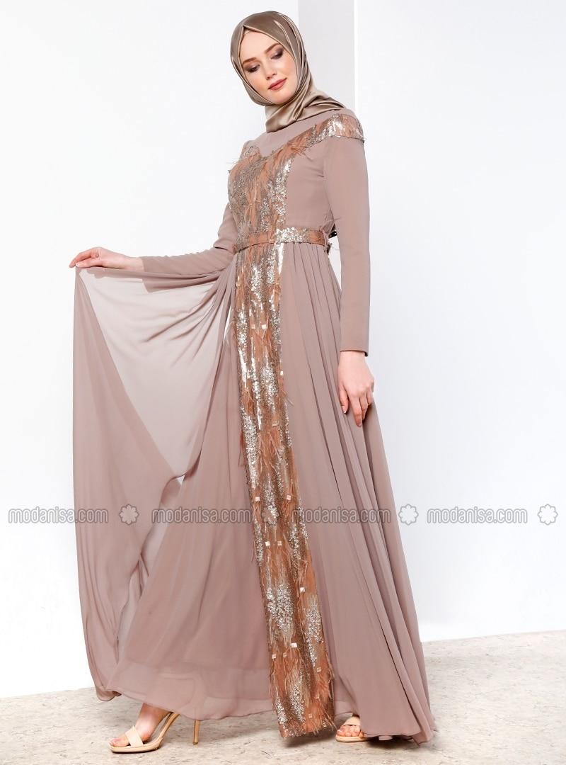 Minc - Tan - Fully Lined - Crew neck - Muslim Evening Dress - Refka