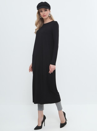 Black - Crew neck - Viscose - Tunic - Everyday Basic