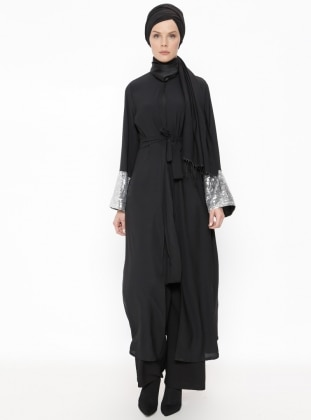 Black - Lamé - Unlined - Crew neck - Abaya