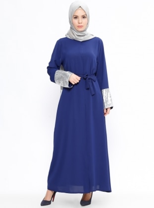 Navy Blue - Lamé - Unlined - Crew neck - Abaya