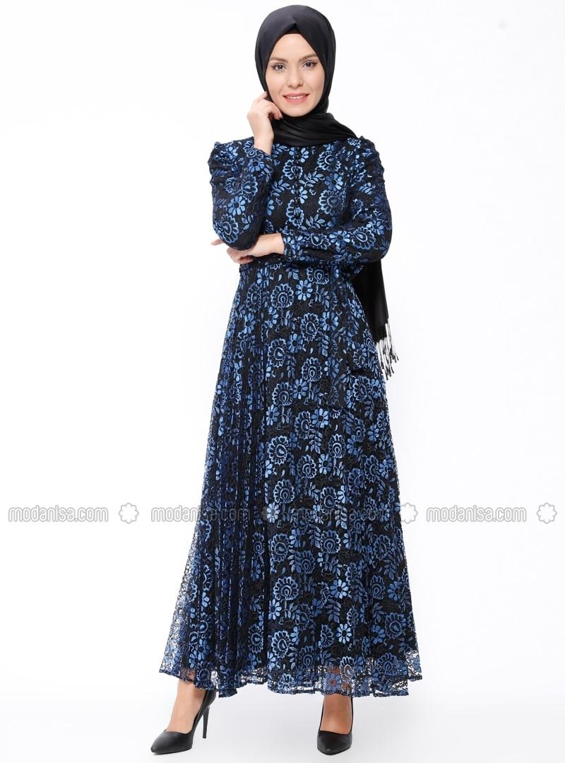 royalblau stehkragen mit innenfutter hijab kleid b r n. Black Bedroom Furniture Sets. Home Design Ideas