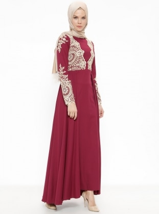 Maroon - Fully Lined - Crew neck - Muslim Evening Dress - Minel Ask 374408