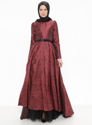 Maroon - Floral - Crew neck - Fully Lined - Dresses - Minel Ask 374409