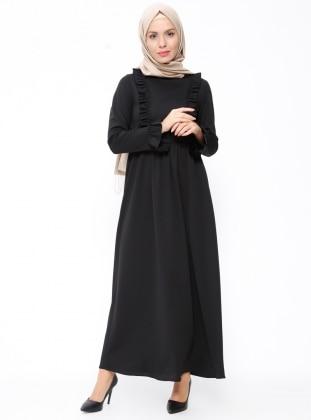 ZENANE Fırfır Detaylı Elbise - Siyah