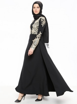 Black - Fully Lined - Crew neck - Muslim Evening Dress - Minel Ask 374407