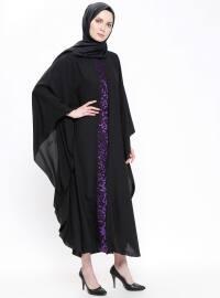 Black - Purple - Crew neck - Unlined - Dresses