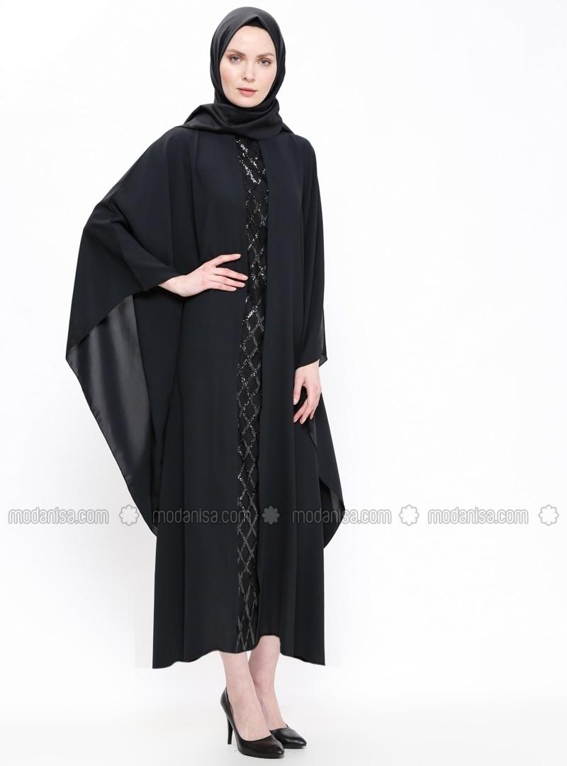 Black - Gray - Unlined - Crew neck - Abaya