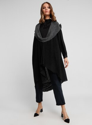 Black - Gray - Unlined - Poncho