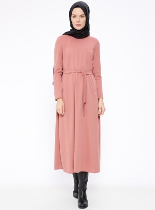 Pink - Crew neck - Unlined - Dresses