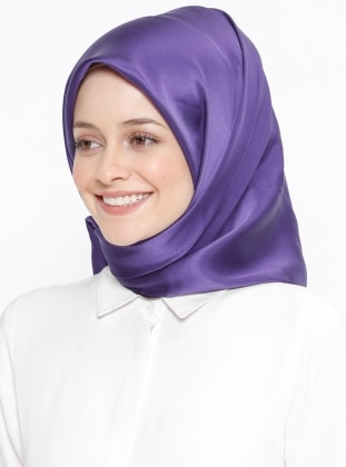 Purple - Plain - %100 Silk - Scarf - Silk Home