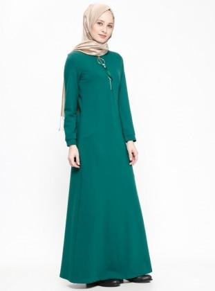 fa674a563da7b أخضر - قبة مدورة - نسيج غير مبطن - فستان