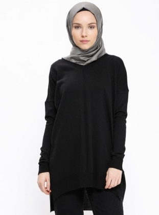 Black - V neck Collar - Tunic