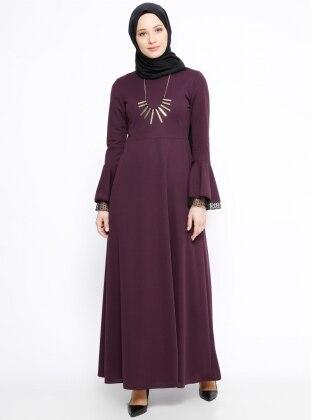 Volan Detaylı Elbise - Mor - Miss Paye Ürün Resmi