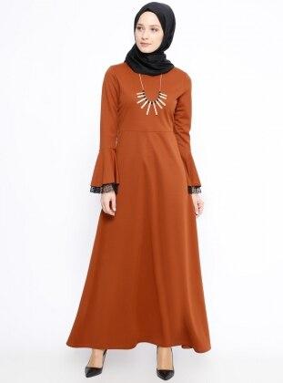 Miss Paye Volan Detaylı Elbise - Taba