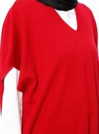 Red - V neck Collar - Tunic