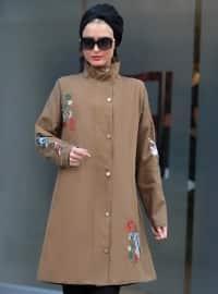 Nakışlı Mont - Camel - Selma Sarı Design