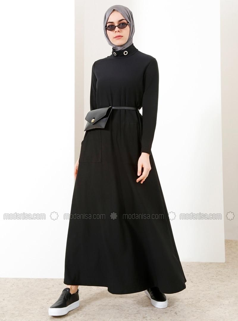 schwarz - rollkragen - ohne innenfutter - hijab kleid