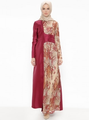 Maroon - Fully Lined - Crew neck - Muslim Evening Dress - Minel Ask 376345