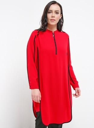 Crew neck - Red - Plus Size Tunic