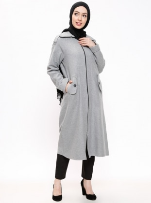 Gray - Fully Lined - Polo neck - Coat