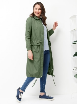 Khaki - Fully Lined - Round Collar - Plus Size Trench coat