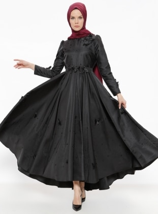 Black - Fully Lined - Crew neck - Muslim Evening Dress - Minel Ask 376349