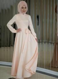 Anvelop Saten Elbise - Somon - Minel Aşk