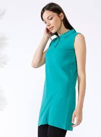 Green - Point Collar - Cotton - Tunic