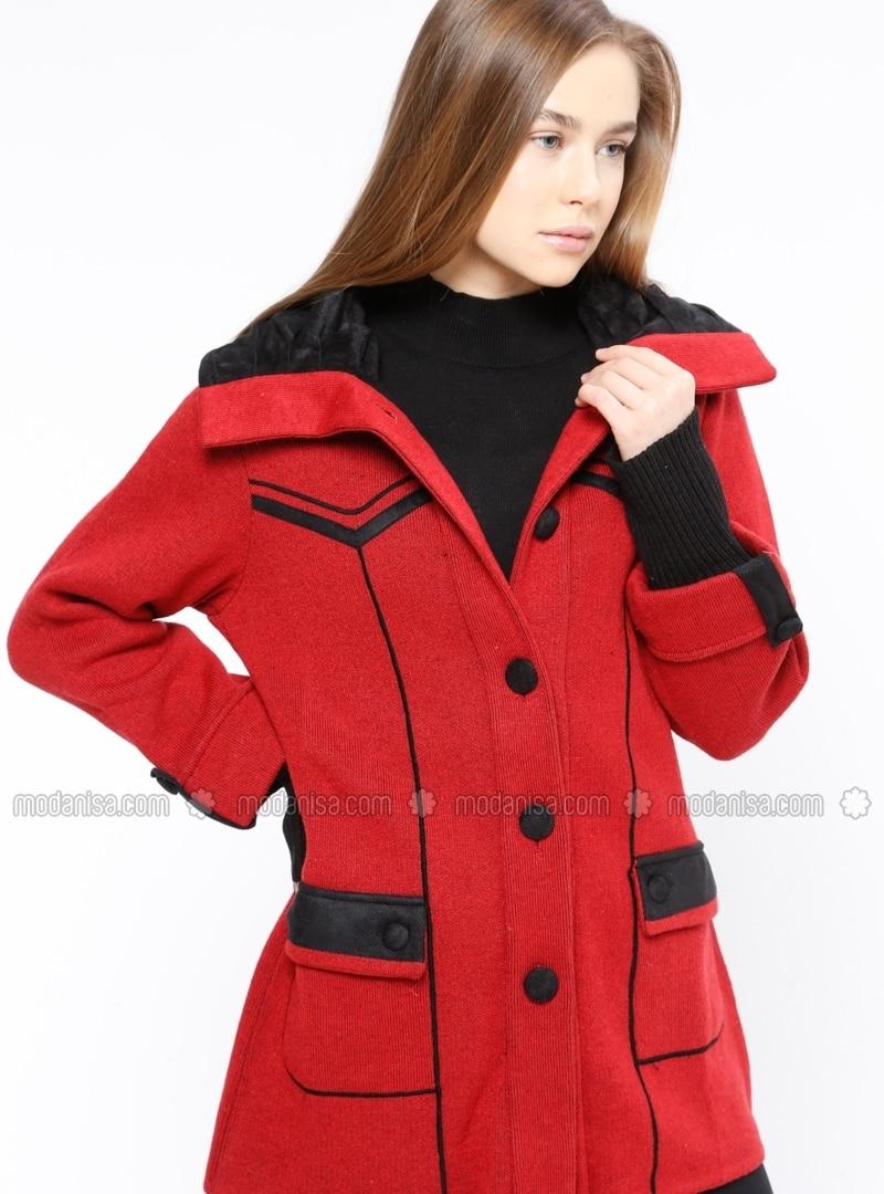 333bb1969a2 Red - Black - Point Collar - Wool Blend - Cardigan